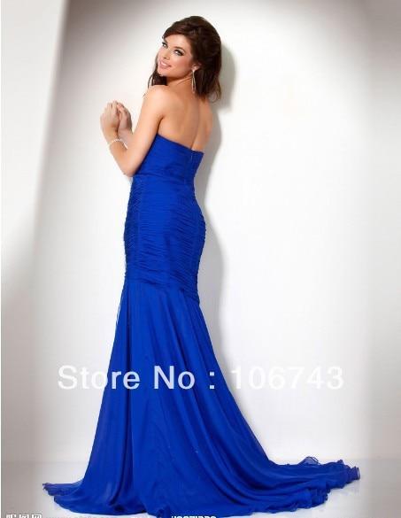 Free Shipping 2018 New Design Vestido De Festa Formales Fishtail Elegant Besded Blue Girl Party Gown Bridesmaid Dresses
