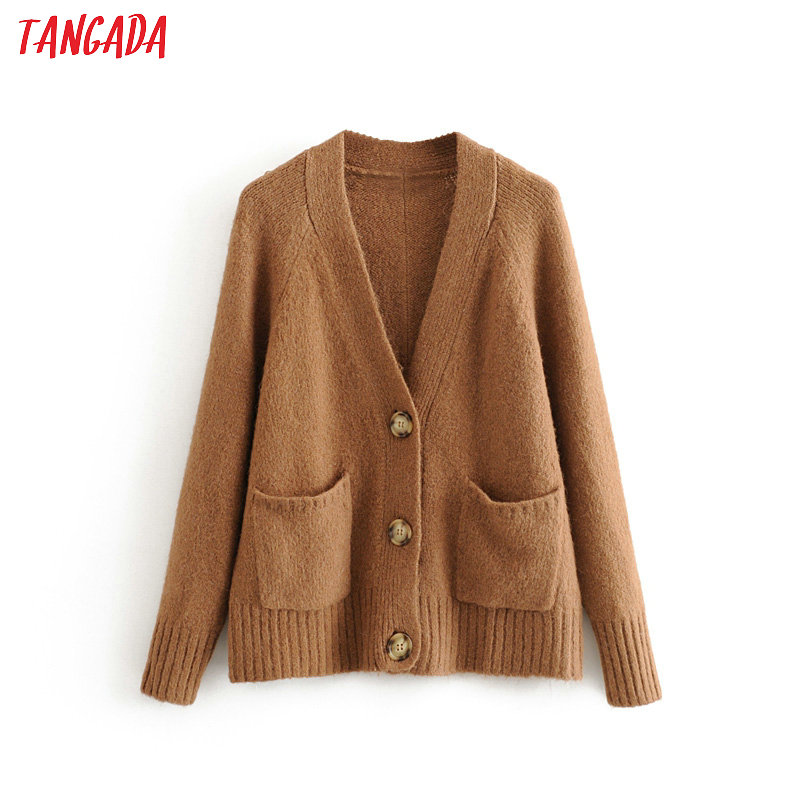 Tangada Autumn Winter Brown Cardigan Vintage Women Sweater Oversized Lady Fashion Knitted Cardigan Coat 3H413