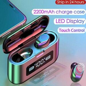 2020 New Bluetooth Earphone Wireless Headphone LED Display Charging Box 2200mAh TWS Sports Waterproof Earphones Headset Earbuds(China)