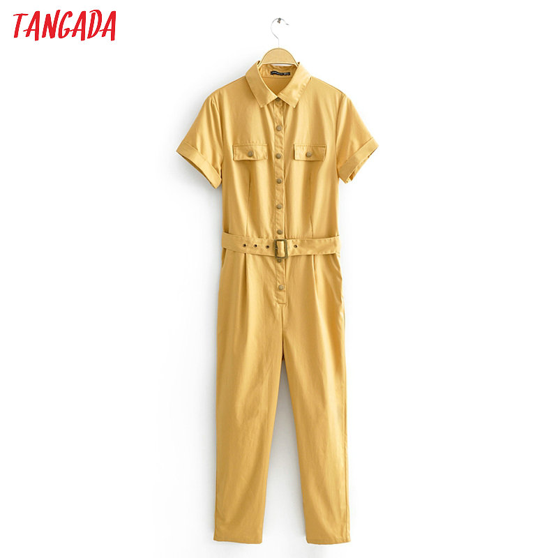Tangada Women Summer Khaki Solid Cotton Jumpsuit With Belt Short Sleeve Pocket Female Boyfriend Style Jumpsuit JA03