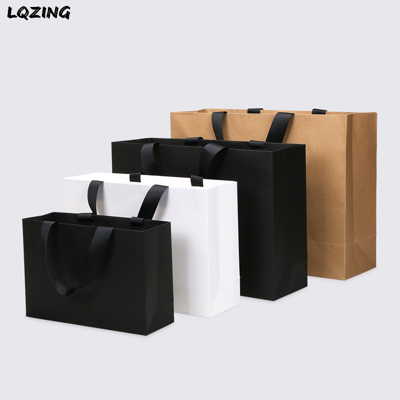White Black Kraft Large Gift Bag Recyclable DIY Paper Bags For Clothes Wedding Birthday Party With Handles Celebration Decor