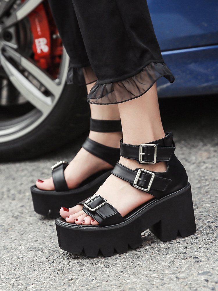 Gdgydh Women Sandals Platform-Shoes Heels Ankle-Strap Open-Toe Female Black Unique High-Thick
