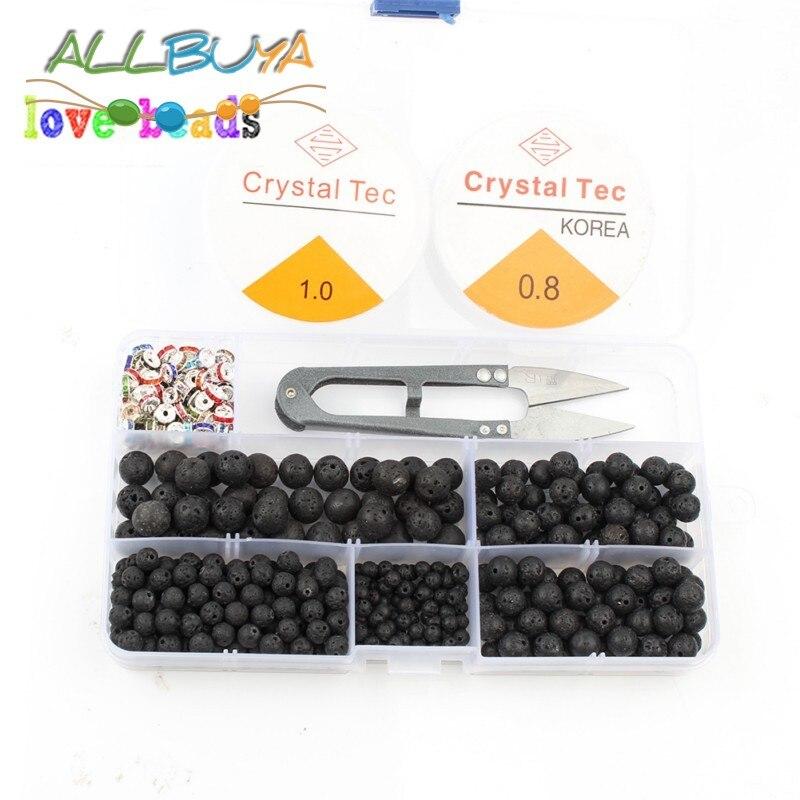 335pcs Black Lava Rock Stone Beads Box Set Kits 4 6 8 10mm Bulk  Beads for Jewelry Making DIY Bracelets Necklaces Storage Box