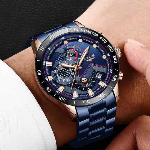 2019 New Mens Watches LIGE Top Luxury Brand Business Blue Stainless Steel Quartz Watch Mens Casual Waterproof Date Chronograph Lahore