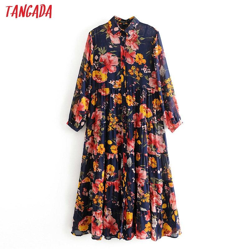 Tangada 2020 Fashion Women Flowers Print Midi Dress 2 Piece Long Sleeve Ladies Vintage Elegant Dress Vestidos 3H294