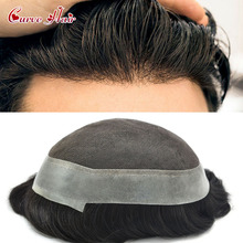 French Lace Mens Toupee Indian Wavy Short Hair Mens Wig Natural Hairline All Hand Tied