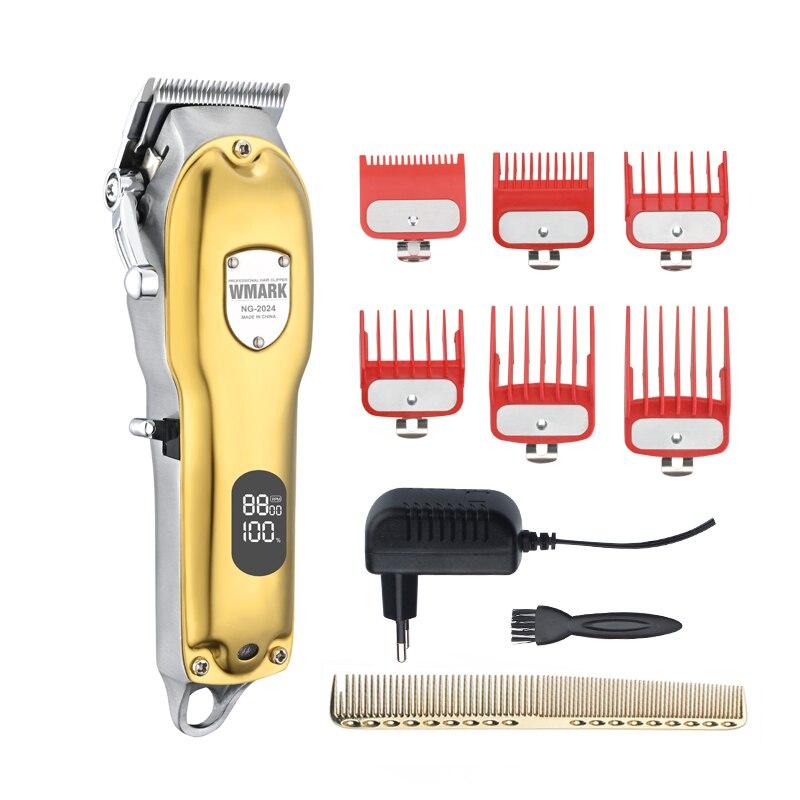WMARK NG-2024 NG-2025 цельнометаллический проводной или беспроводной Применение стрижки волос Машинка для стрижки волос с ЖК-дисплей Дисплей 2500 мА/ч...