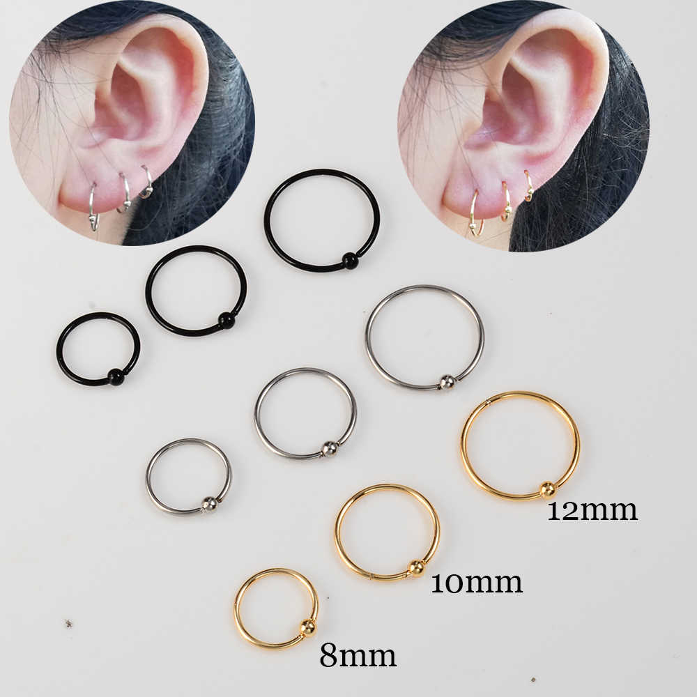 6PCS /Pack Stainless Steel Nostril Nose Ring Nosering Hoop Earrings Gold Septum Labret Helix Piercing oor Cartilag Studs Body