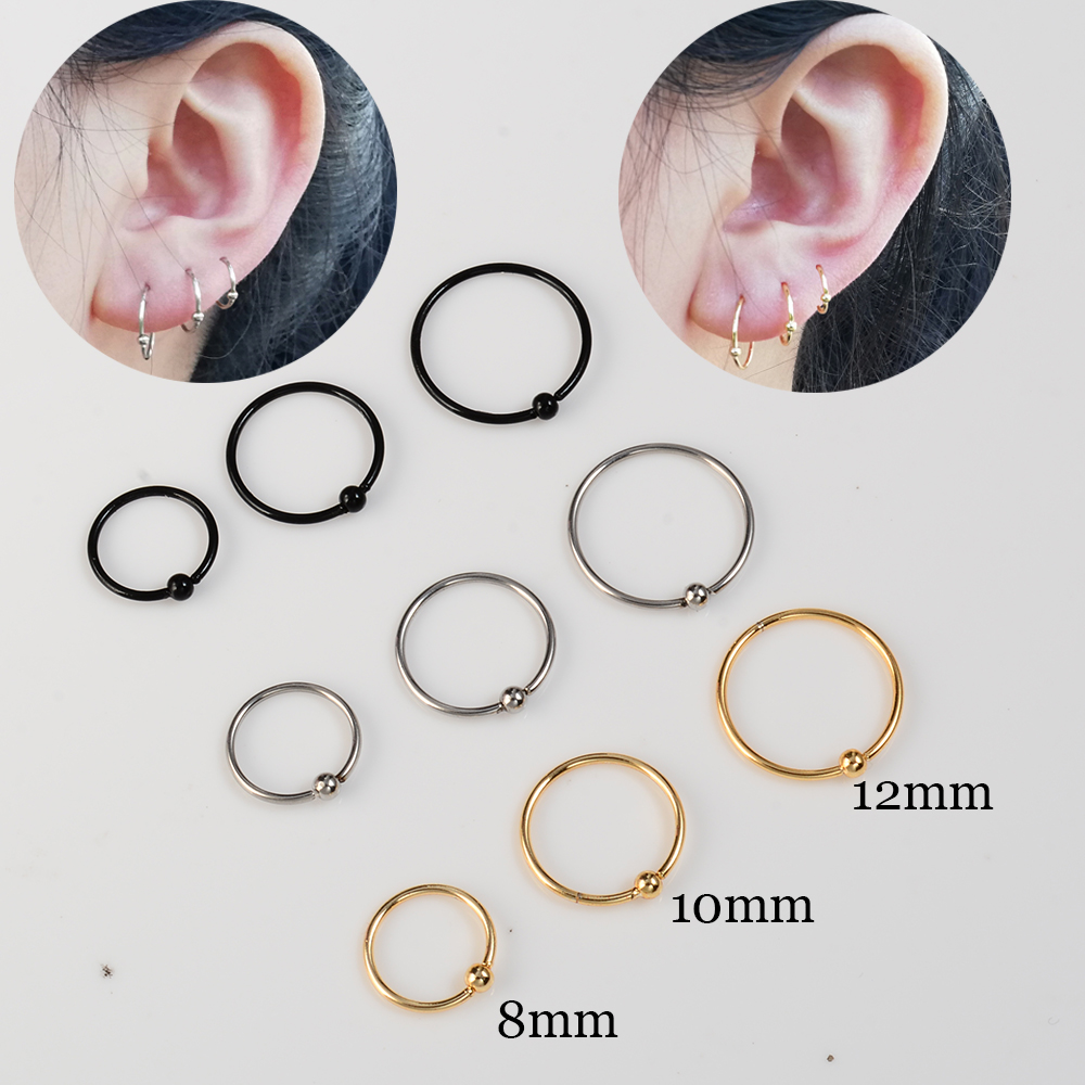 6pcs Pack Stainless Steel Nostril Nose Ring Nosering Hoop