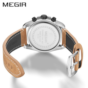 Image 4 - Megir Nieuwe Mode Heren Horloges Topmerk Luxe Grote Wijzerplaat Militaire Quartz Horloge Lederen Waterdichte Sport Chronograaf Horloge Mannen