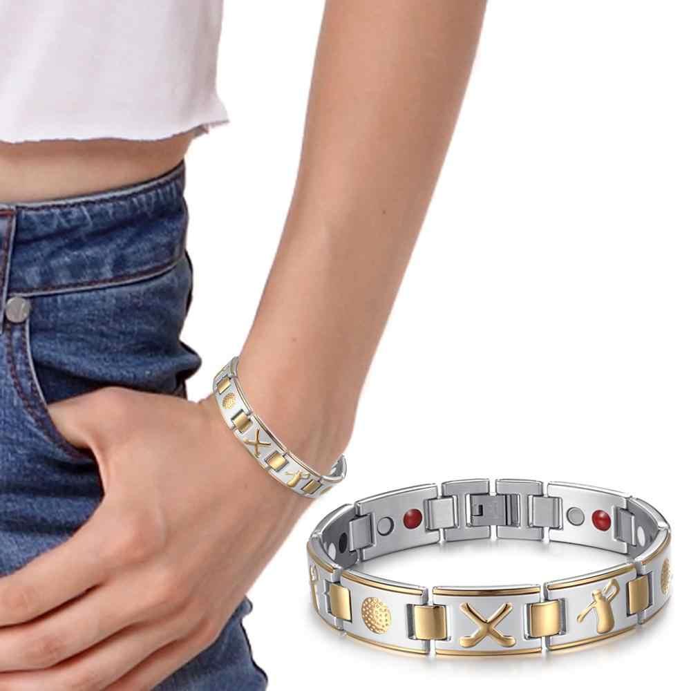 RainSo ステンレス鋼磁気ブレスレット女性のファッションジュエリーシルバーとゴールドリンクチェーンとエネルギー要素健康