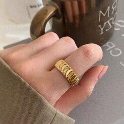 Vintage tresse texturé réglable gros 14k or anneaux pour les femmes Style de rue minimaliste Cool fille Index bague