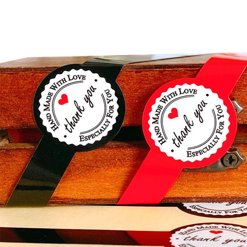 50 шт., красный, черный, длинное круглое оформление «леденец» Стикеры из крафтовой бумаги для изделий ручной работы, Подарочная посылка, печа...