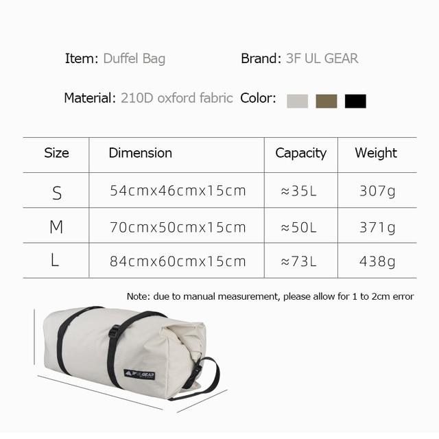 3F UL GEAR Travel Storage Bag 35L-73L Foldable Large Duffel Handbag  2