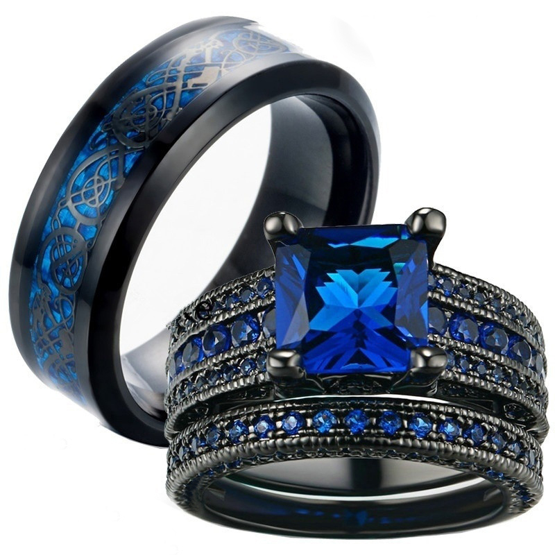 Carofeez Charm <font><b>Couple</b></font> <font><b>Ring</b></font> Men's Stainless Steel <font><b>Ring</b></font> Blue Zircon Women's <font><b>Ring</b></font> <font><b>Sets</b></font> Valentine's Day Wedding Bands Lover Gift image