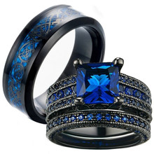 FDLK Charme Paar Ring heren Rvs Ring Blauwe Zirkonia women Ring Sets Valentijnsdag Hochzeit Bands minnaar Geschenk(China)