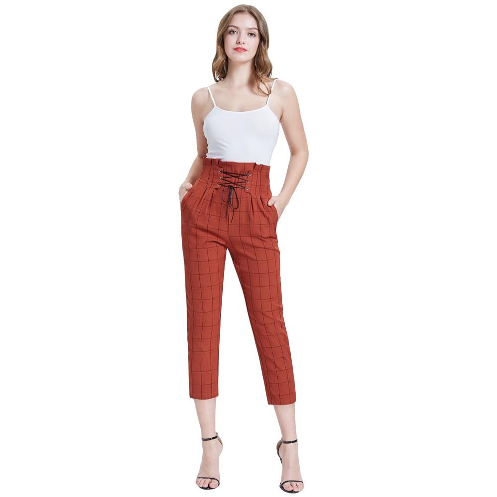 Women work   pants   slim retro plaid grid Stylish Lacing   Capri     Pants   Elastic Waist High Waist vintage slim pencil trousers office