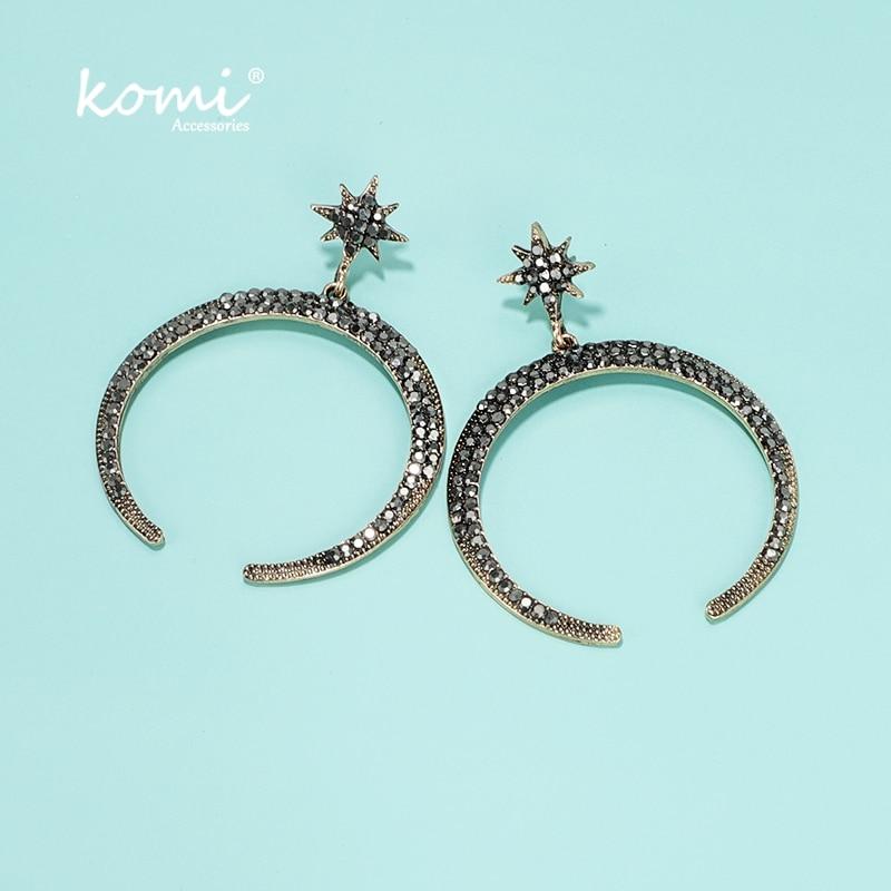 USONG Boho Rhinestone Dangle Cross Drop Ear Stud Earrings Shiny earrings