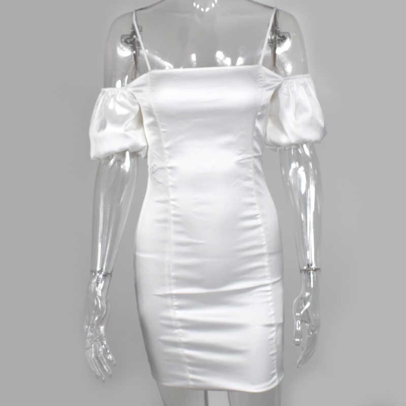 NewAsia Double couches brillant Satin robe été 2019 Vintage manches bouffantes Mini robe moulante femme fête nuit blanc Sexy robe