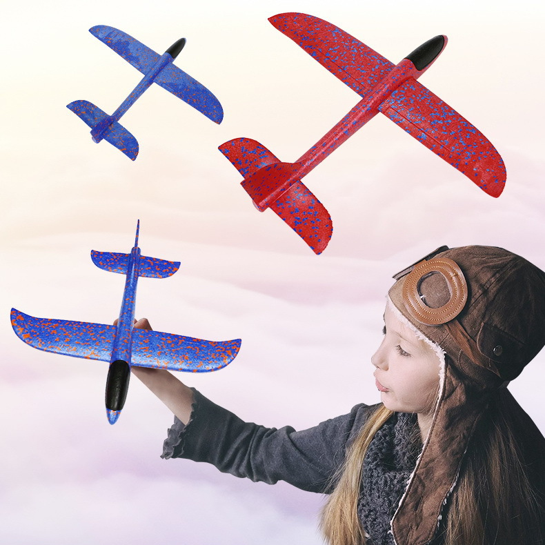 Hui Cheng Hot Sales New Style Hand-Tossed Airplane Foam Color Cyclotron Airplane Children Model Toy