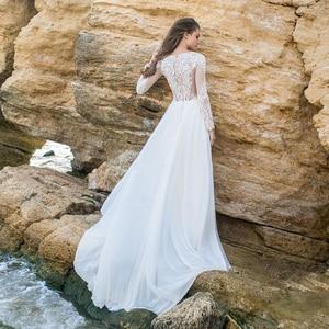 Image 5 - レースのウェディングドレス 2020 長袖セクシーなパーティードレス vestido デ · ノビアホワイト/lvory 花嫁ドレスシフォンエレガントウェディングガウン