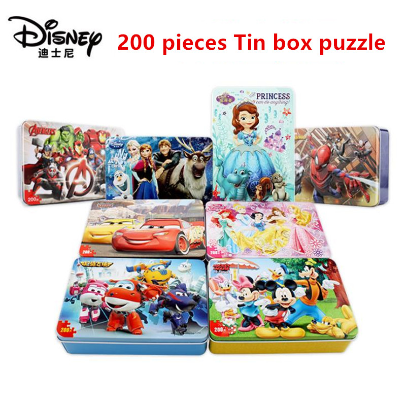 Disney 200 Pieces Iron Box Wooden Jigsaw Puzzle Mickey Racing Princess Frozen Kids Educational Toys For Children Gift