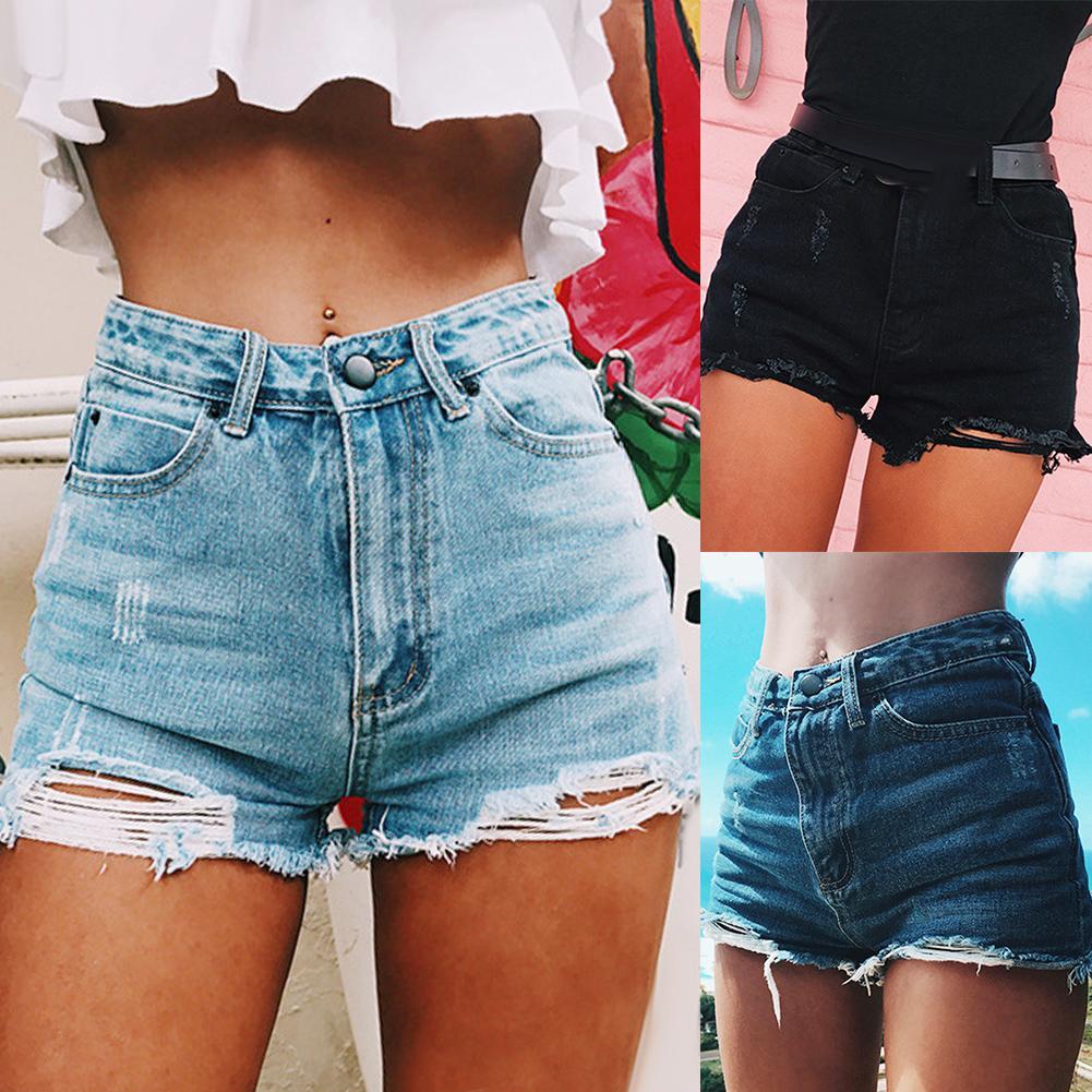Fashion Ripped Frayed Hole Denim Shorts Summer Women High Waist Jeans Hot Shorts Denim Shorts Summer Women High Waist Jeans