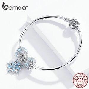 Image 2 - Bamoer oryginalna 925 Sterling Silver zima Snowflake księżniczka bransoletka dla kobiet Charm bransoletka luksusowe europejskiej Bijoux SCB833