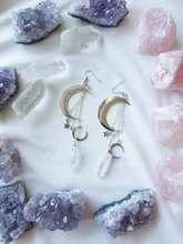Белые посеребренные кварцевые серьги с кристаллами аура, готические серьги с полумесяцем, оккультная Хрустальная корона, аксессуары, ювели...