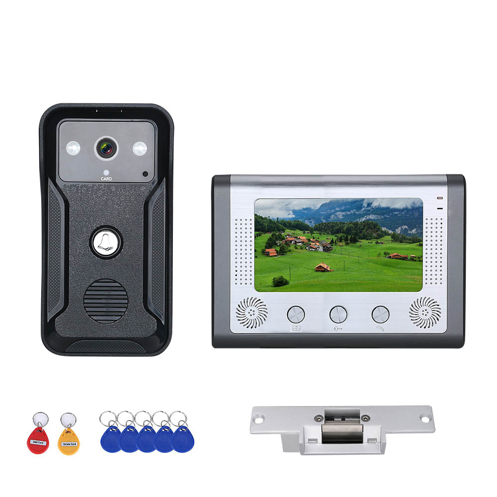 7 Inch Color Visual Video Intercom Door Phone RFID System With HD Doorbell 1000TVL Camera With Electric Strike Lock