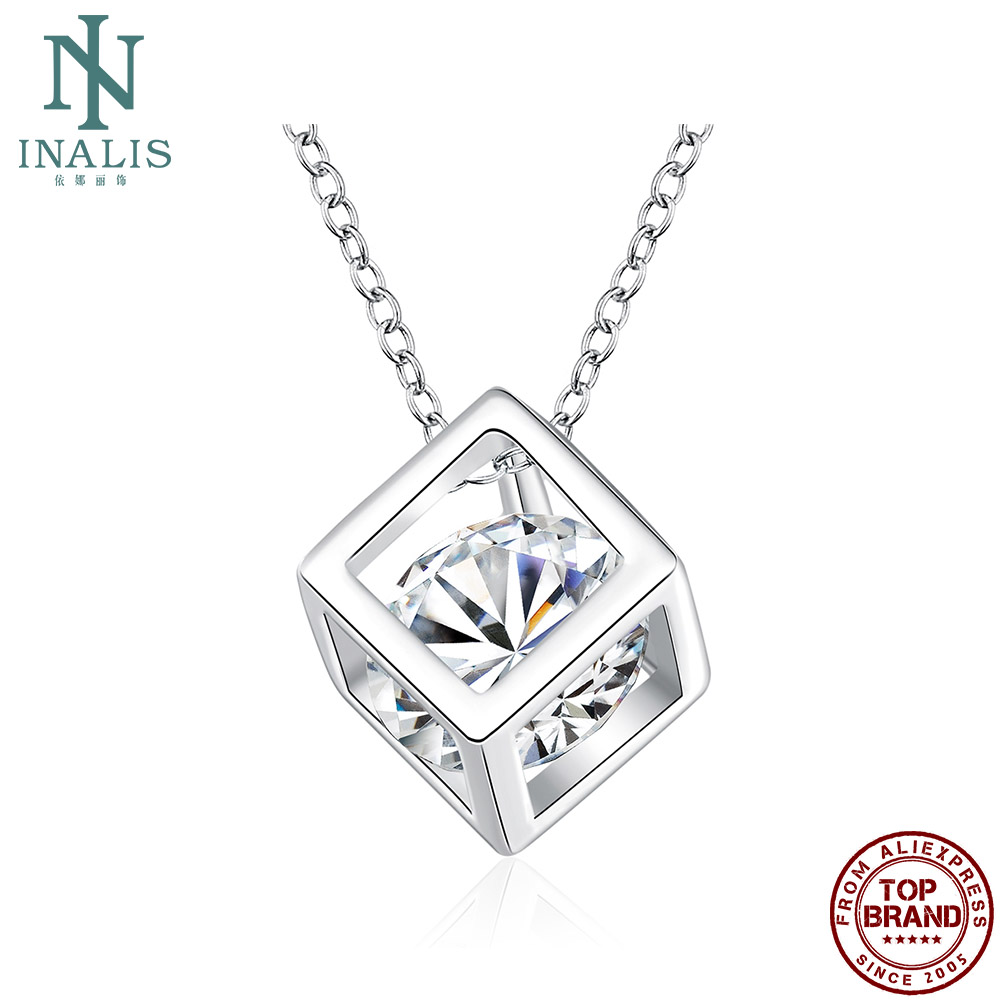 INALIS Individual Hollow Cube Pendant Necklaces For Women 5A Clear Cubic Zircon Copper Girl Necklace Anniversary Fashion Jewelry