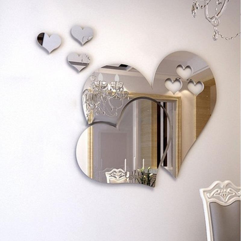 3D зеркало любовь сердца наклейки на стену Наклейка DIY художественная роспись для дома, комнаты настенный Декор Съемный современные винилов...