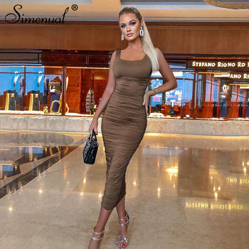 Simenual Ruched Solid Sexy Bodycon Party Dresses Women Fashion Sleeveless Skinny Clubwear Basic Hot Midi Dress 2020 Slim Female 2