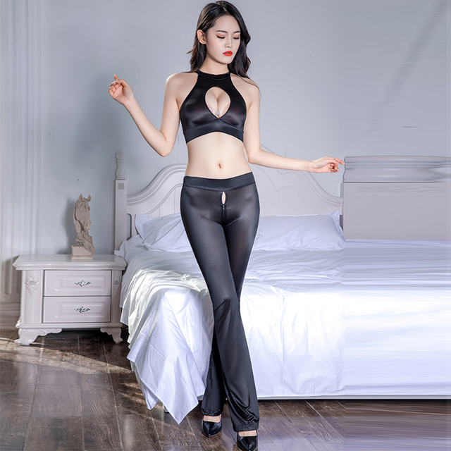 Super Thin Transparent Sexy Clubwear Leggings See Through Oil Glossy Shiny Zipper Open Crotch Flare Pants Elastic Hollow Top Set 6