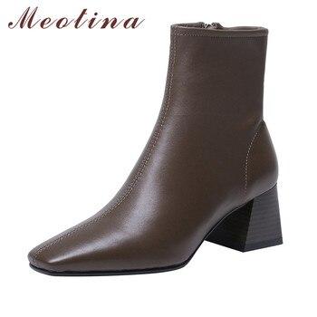 Meotina סתיו כבש קרסול מגפי נשים טבעי אמיתי עור בלוק עקב גבוה מגפיים קצרים חורף Zip בוהן מרובע נעלי ליידי 1