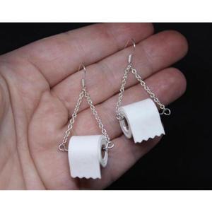 Roll Paper Dangle Drop Earrings Funny 3D Tissue Geometric Drop Earrings Creative Paper Towel Toilet Paper Earrings for women