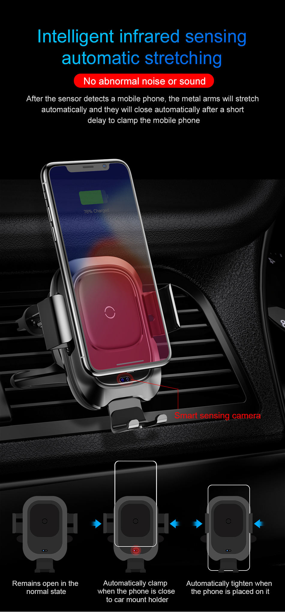 Baseus Qi Car Wireless Charger For iPhone Xs Max Xr X Samsung S10 S9 Intelligent Infrared Fast Wirless Charging Car Phone Holder 6