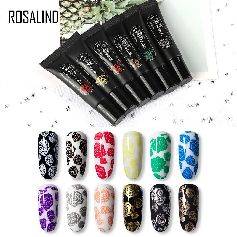 Гель-лак ROSALIND для ногтей, штамповочный УФ-лак с черным и белым принтом, гибридные лаки для дизайна ногтей
