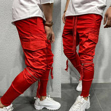 Fashion Men Joggers Long Pants Pencil Cargo Pants Side Pockets Slim Fit Male Boys Stylish Trousers Elastic Waist Pants 2019 New(China)