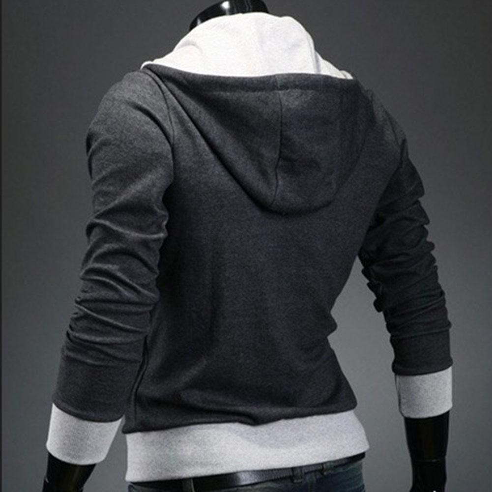 Mode hommes polaire sweat à capuche couleur Patchwork côté veste à glissière décontracté hommes à manches longues noir gris bleu à capuche manteau - 6