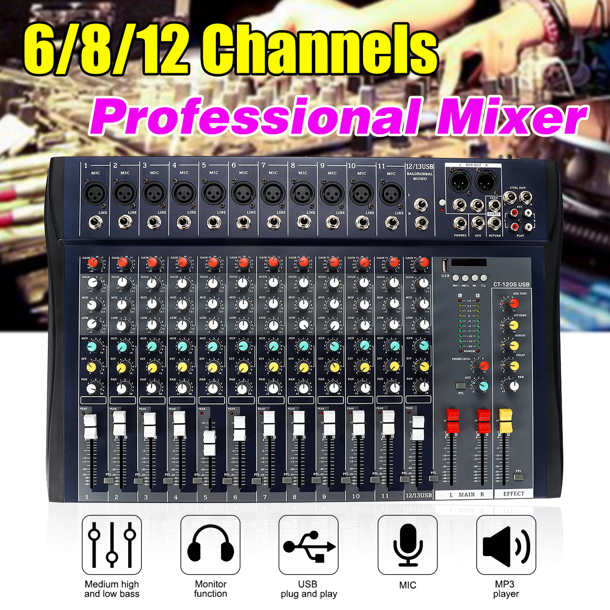 6/8/12 Kanal Audio Mixer USB Professional Studio DJ Mischen Konsole Karaoke Verstärker Digital KTV Sound Mixer audio