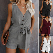 Women Summer Clothes Off Shoulder Belted Tunic Sleeveles Playsuit Solid Casual V-neck Short Home Jumpsuit 2020 Dropshipping
