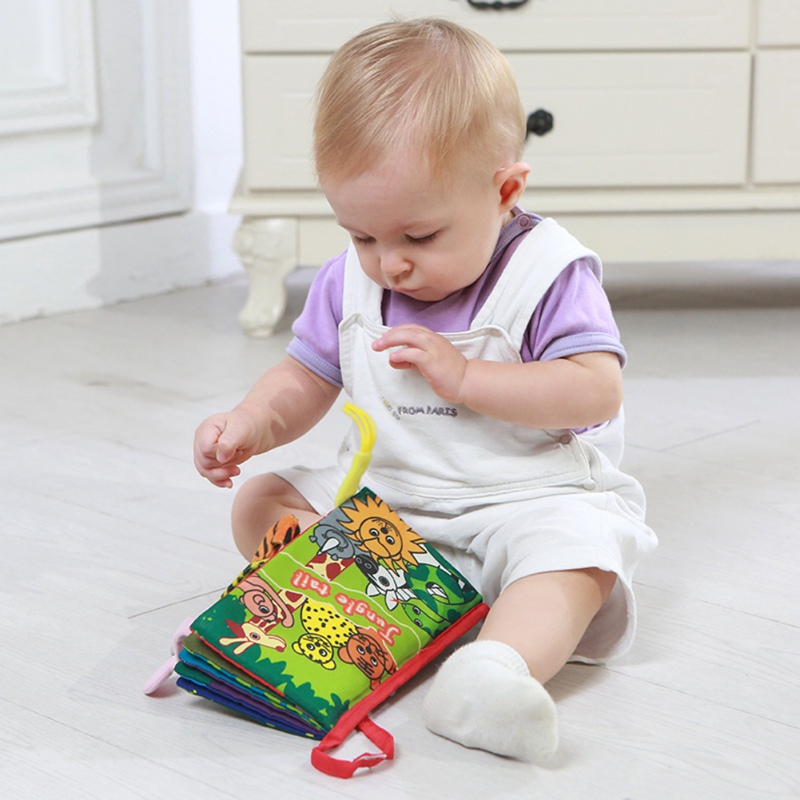 Infant Baby Cloth Books Cartoon Animal Pattern Baby Soft Activity Crinkle Cloth Books Educational Learning Toys