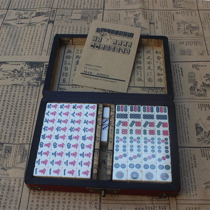 Hot Retro Mahjong Portable Folding Wooden Boxe Majiang Set Table Game Mah-jong Travel Travelling Board Game Indoor Entertainment