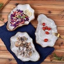 Tableware Dish-Tray Salad-Plate Porcelain Ceramic Japanese Seafood Steak Shell Anti-Skid