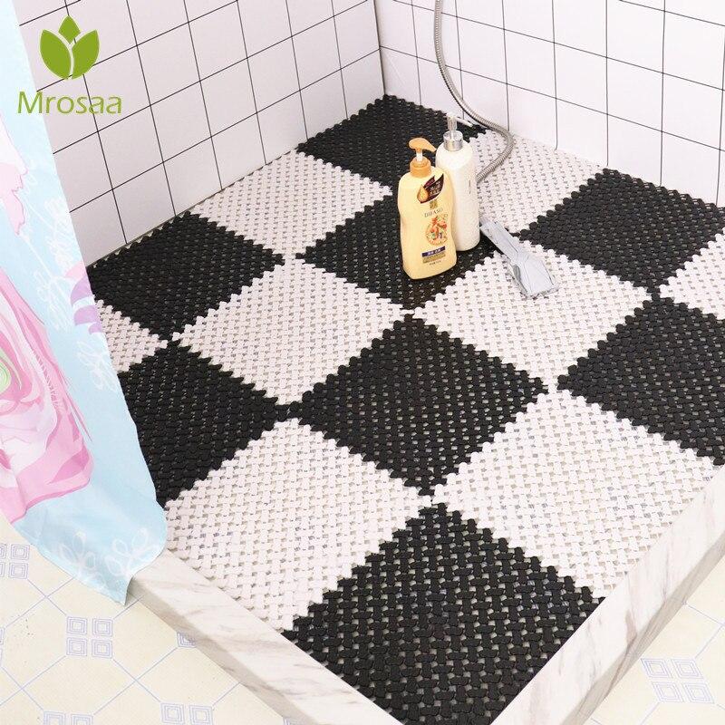 New Mrosaa Anti-slip Bathroom Soft Carpet Plastic Magic Patchwork Jigsaw Splice Heads Glass Door BathtubToilet Supply DIY Mats