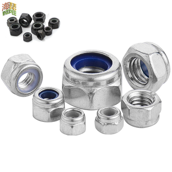 DIN985 304 Stainless Steel or Black Carbon Steel Hex Hexagon Locknut M2 M2.5 M3 M4 M5 M6 M8 M10 M12 M14 M16 M20 M24 Nylon Nut 50pcs din985 m2 m2 5 m3 m4 m5 m6 m8 304 stainless steel nylon self locking hex nuts locknut slip lock nut