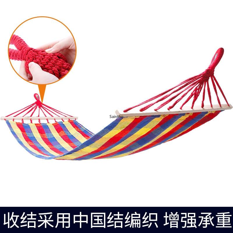 Hamac de pique-nique en plein air pour enfants lit d'oscillation adulte hamac de toile en plein air avec bâton en bois épais hamac lits de Camping
