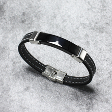 Rubber Silicone Bracelet ID Bangle Adjustable Slide Charm Black Color Stainless steel Women Men Jewelry