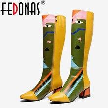 FEDONAS חדש נשים הברך גבוהה מגפיים סקסי הדפסי מסיבת ריקודי נעלי אישה עקבים גבוהים ארוך חם גבוהה מגפי גבירותיי אופנה נעליים